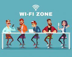 Векторные иллюстрации мультфильм мужчин и женщин в wi-fi зоне Бесплатные векторы
