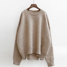 Heathered Round Neck Asymmetric Knit Sweater - OASAP.com