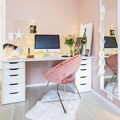 70 Beautiful & Inviting Home Office Decor Ideas that make you want to work Home Office Organization, Home Office Decor, Home Decor, Office Workspace, Office Ideas, Modern Office Design, Inviting Home, Aesthetic Room Decor, My New Room