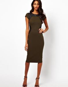 Bodycon Slimming Dress With PU Panels And Short Sleeves