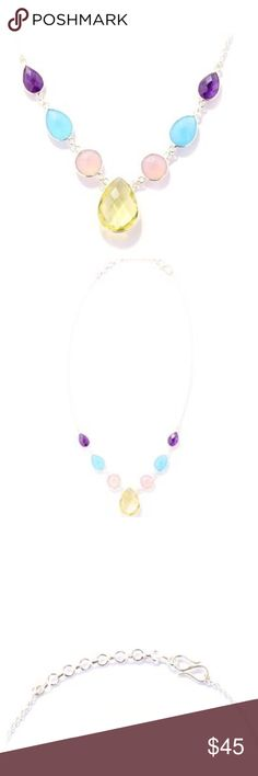 "Lemon Quartz Necklace w/Blue Chalcedony 38.55CTS Beautiful Necklace with Lemon Quartz, Blue Chalcedony, Rose Chalcedony and Amethyst, set in Sterling Silver. 38.55CTS; 17"" adjustable to 18"" Jewelry Necklaces"