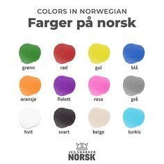 Colors in Norwegian How To Speak French, Learn French, Norway Culture, Sons Of Norway, Norwegian Words, Norway Language, Norway Travel, Educational Websites, Mini Books