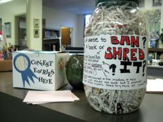 Banned Books Contest-- shred a book with the cover and have kids guess what it is. They are loving this one! Inspired by a suggestion from http://www.teenlibrariantoolbox.com/2013/09/tpib-self-directed-displays-for-last.html