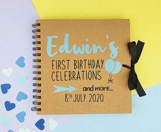 Personalised first birthday album 1st birthday memory book | Etsy 60th Birthday Cards, First Birthday Gifts, Birthday Scrapbook, Special Birthday, Boy Birthday, First Birthdays, Handmade Cards, Handmade Gifts, Fun Cards
