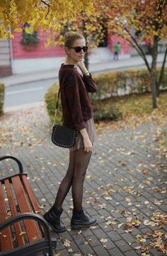 Short pleated chiffon skirt, dark sweater, black tights and boots