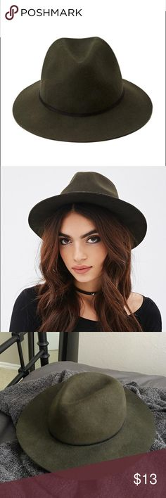 """Forever 21 Olive Fedora Wool Hat **LIKE NEW & UNWORN** Olive fedora hat made of wool from Forever 21. It is small brimmed with a chic velvet band wrapped around the top. Fits M/L, 22""""-23"""" head circumference. Forever 21 Accessories Hats"""