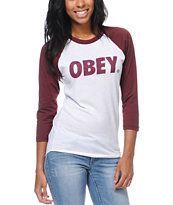 Obey Women's Font White & Burgundy Baseball Tee Shirt