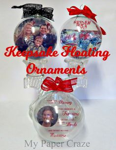 Keepsake Floating Ornaments: Printing on Transparencies with Free Cut File - My Paper Craze Photo Christmas Ornaments, Clear Ornaments, Glitter Ornaments, Christmas Fun, Christmas Bulbs, Christmas Items, Christmas Blocks, Beach Ornaments, Toddler Christmas