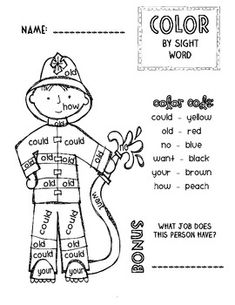 I made this little firefighter color by sight word activity for our community helpers unit. My kids love these and it& a great way to reinforce basic sight words. Enjoy this freebie! Thanks for your support! Basic Sight Words, Teaching Sight Words, Sight Word Activities, Literacy Activities, Teaching Resources, Teaching Ideas, Community Helpers Kindergarten, Firefighter School, Fire Safety Week