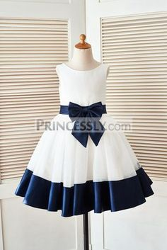 Ivory Satin Tulle Flower Girl Dress with Navy Blue Belt Bow - Klader Ideer African Dresses For Kids, Little Girl Dresses, African Fashion Dresses, Vintage Girls Dresses, Ghanaian Fashion, African Wear, Kids Frocks, Frocks For Girls, Satin Tulle