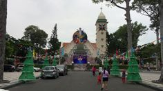 VUNG TAU - DECEMBER 25, 2016: View of Nha tho Vung Tau Catholic church in the downtown of city at X-mas holiday. Vietnam has the fifth largest Catholic population in Asia.  - HD stock video clip