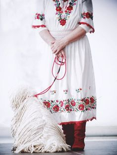 Hungarian Embroidery I love red Puli kutya :) Polish Embroidery, Hungarian Embroidery, Embroidery Patterns, Hand Embroidery, Popular Art, Arte Popular, Hungarian Puli, Textiles, Thinking Day