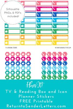 Free Printable TV & Reading Planner Sticker Boxes & Icons! Silhouette, PDF, & PNG files from Return to Sender Letters