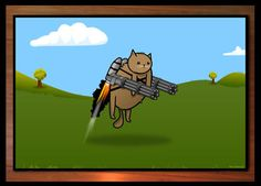 This is a limited edition print of a kitty armed with Gatling guns. You're welcome.
