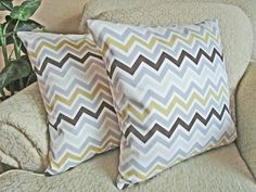 Neutral Chevron Pillow Covers, Decorative Couch Throw Pillow Covers, Khaki, Gray, Bone, Chocolate Brown Pillow Covers - Set of Two - 18 x 18 on Etsy, $44.95
