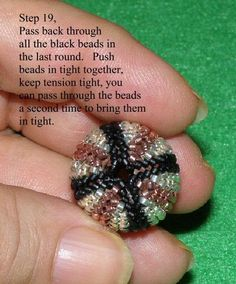Continue rounds of herringbone stitch until you are about even with the shoulder of the wooden or core bead. Now, we'll start to redu...