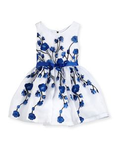 Embroidered Rose Tulle Dress, Royal/White, Size 2-6X by Zoe at Neiman Marcus.