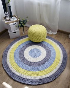 Genial Yellow And Light Blue Stripped Circular Bedroom Rug, Crochet Carpet With  Stripes By ByAnnaZShop On