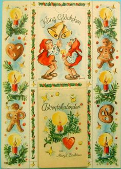 """A38 Advent calendar """"Kling Glöckchen"""" with its original wrapping, consisting of a cardboard back panel on which the tear off advent calendar is fixed. It is thought to be of 1945, some mention 1948.Each day a sheet is torn off. On each sheet are two lines of a poem and when December 24th is reached, one has learned the complete poem """"Weihnachtszeit"""" by Margit Backhus (1905-1975), drawings are by Maria Hohneck.In addition the sheets still have another function. They are a pack of cards, calle Christmas Card Images, Xmas Cards, Christmas Art, The Best Of Christmas, Christmas In Germany, Antique Christmas Ornaments, Vintage Christmas, Advent Calander, Fantasy Posters"""