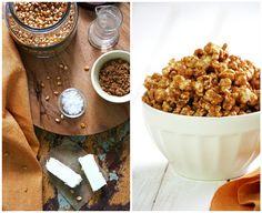 Palomitas con Caramelo (Caramel Popcorn) Ingredientes 220 gr. de granos de maíz 2 cdtas. de aceite de girasol 224 gr. de matequilla 340 gr. de azúcar ligth brown sugar * 160 gr. de jarabe de maiz (Corn light syrup) o glucosa** 2 cdtas. de extracto de vainilla 1 cdta. de sal 1/2 cdta. de bicarbonato sódico  EL RESTO DE LA RECETA SE ENCONTRAR EN: http://food-and-cook.blogs.elle.es/2010/11/09/palomitas-de-caramelo-caramel-popcorn/