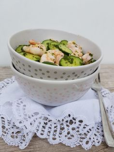 Simple Cucumber salad with Shrimp and mint dressing