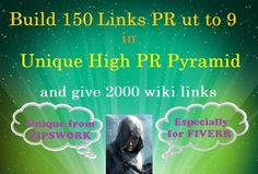 """We offer a new and unique GIG - """"Build 150 PR up to 9 1inks in Unique High PR Pyramid and give 2000 wiki"""". In this gig, we use only  verified domains with PR 9 inclusive. There isn`t anything more valuable for YOU than getting high quality backlinks from different platforms(PHPFox, PHP DL, SEO Board, SMF, PHPBB and others) to YOUR website, because Google loves high PR domains!!!! #linkbuilding, #seolinkbuilding, #linkpyramid, #pyramid"""