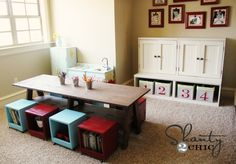 Playroom Kids Table DIY Finally! Something that is both practical and beatuiful, no more IKEA mdf w sharp edges. I'm doing this for lego storage 'n work-top. Lego boxes fit nicely on under table shelf, within easy reach.