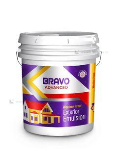 BRAVO EXTERIOR EMULSION BUCKET LABEL - Brandz.co.in Milk Cookies, Coconut Cookies, Drop Cookies, Label Design, Packaging Design, Pork Marsala, Brochure Food, Tea Labels, Mango Jam