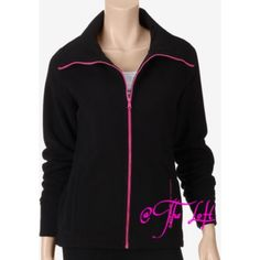 % Authentic Asics Combed Black Fleece jacket Women's black combed fleece, with an pink full zip.  Has an embroidered Asics logo on both arms.  Limited edition, that looks sheik while working out, or just a pair of jeans! Asics Tops Sweatshirts & Hoodies