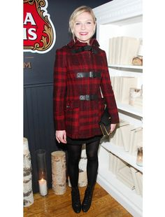 Love the black boots black tights black mini with the plaid fitted jacket. Kirsten has been killin it.