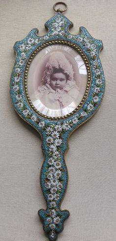 Victorian Micro Mosaic Daisy Picture Photo Frame Hand Mirror