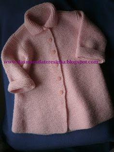 Das Mãos da Teresinha: Casaco comprido de tricô para menina, tam. 1 a 3 anos