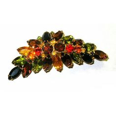 Vintage Rhinestone Brooch Confirmed Juliana Crescent Shaped Multi Colored Stones from xurple.etsy.com