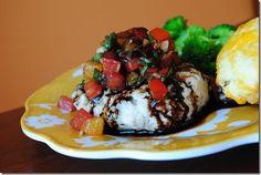 mozzarella-stuffed bruschetta turkey burgers w. balsamic glaze