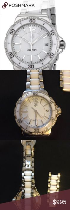 Tag Heuer Formula 1 Ladies Watch Ceramic&Diamonds Tag Heuer Diamond Automatic Steel and White Ceramic Ladies Watch  No box no papers  Condition good  Some scratches Tag Heuer Accessories Watches