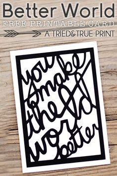 "Free ""Better World"" cut file & printable (studio | svg | pdf) #Silhouette #CutFile"