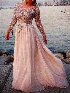 Bateau Neck A-line Beading Long Sleeve Evening Dress - m.tbdress.com