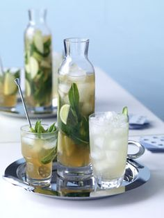 Barbodos Punch  150 ml  	 Mount Gay Rum  45 ml  	 lime juice (about 2 limes)  600 ml  	 sparkling apple juice, chilled  15  	 mint leaves, torn  1  	 Granny Smith apple, cut into 8 slices  1  	 lime, cut into 8 slices  To serve:  	 mint sprigs