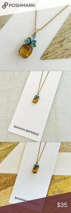 "Banana Republic Pineapple Jewel Necklace Pineapple Jewel Necklace - beautiful classic style with a trendy twist of Pineapple! Dainty chain with big style, amber and green colored stones on a gold setting. * 16"" length chain with 2"" extender. * Base"