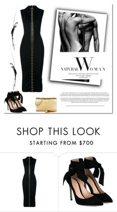 """Balmain black dress."" by tatajrj ❤ liked on Polyvore featuring Balmain, Gianvito Rossi and Yves Saint Laurent"