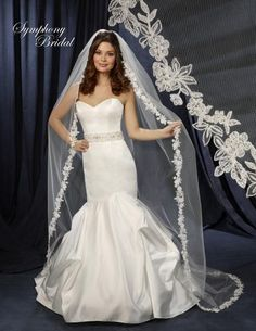 Cathedral Length Lace Edge Wedding Veil 6231VL by Symphony Bridal - Affordable Elegance Bridal -
