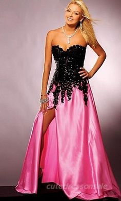 Pink Sweetheart Prom Dresses Long Taffeta Prom Dresses 00191