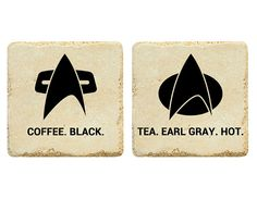 """Heh. Janeway and Picard. """"There's coffee in that nebula!"""" ... Star Trek Drink Order Mini Set by jb2designs on Etsy, $10.00"""