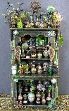 Absinthe Hell OOAK 1:12 assemblage cupboard by dark squirrel on etsy.