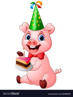 Happy pig cartoon holding birthday cake vector image on VectorStock Puzzle Piece Template, Pig Birthday Cakes, Cake Vector, Happy Pig, Puzzle Art, Cake Pictures, Puzzle Pieces, Adobe Illustrator, Clip Art