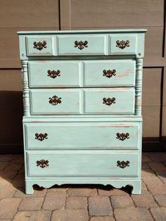 Vintage Wood Dresser Blue Bonnet by ShannonsShabbyShaq on Etsy, $225.00