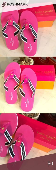 Sale! ♠️ Kate Spade Signature Flip Flops! New in box! ♠️ Kate Spade Pink Logo Flip Flops ♠️  Great hot pink color and signature Spade detail!  *Open to REASONABLE offers (reasonable is not half of asking price) please remember Posh takes 20%* kate spade Shoes Flats & Loafers