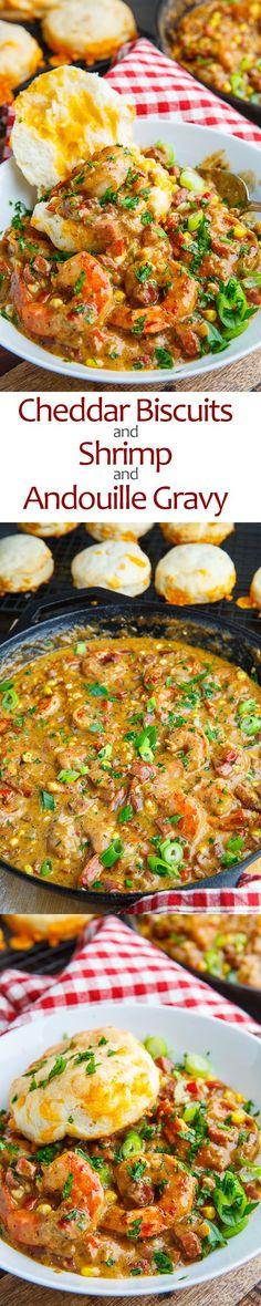 Cajun Biscuits and Shrimp and Andouille Gravy