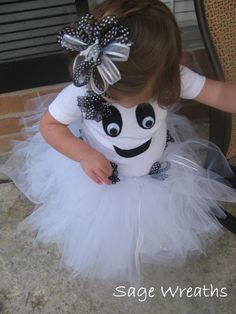 Toddler Girl Ghost Costume with Tutu and Bow by SageWreaths
