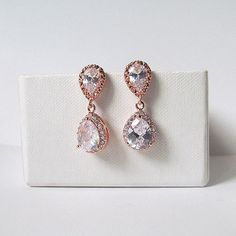 rose gold bridal earrings, rose gold jewelry set, rose gold earrings, crystal earrings, rose gold wedding earrings, rose gold jewelry,